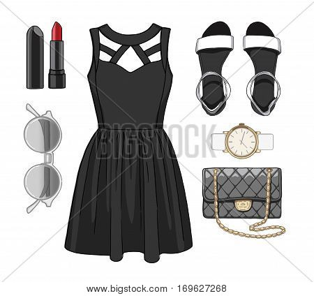 Lady fashion set of spring, summer season outfit. Illustration stylish and trendy clothing. Dress, bag, accessories, sunglasses, high heel shoes.