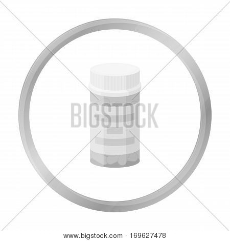 Prescription bottle icon in monochrome style isolated on white background. Drugs symbol vector illustration.