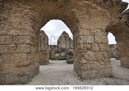 Archs at Antonine Thermae; Tunis; Tunisia