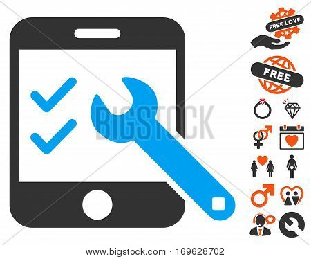 Smartphone Options icon with bonus decoration graphic icons. Vector illustration style is flat iconic symbols for web design app user interfaces.