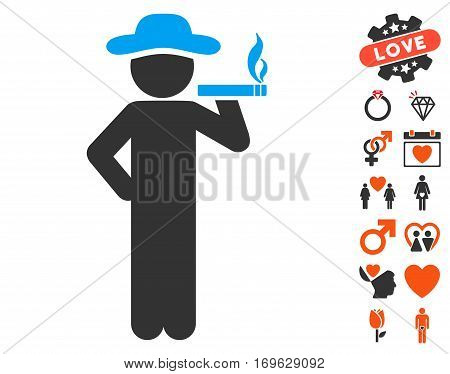 Smoking Gentleman pictograph with bonus marriage design elements. Vector illustration style is flat iconic symbols for web design app user interfaces.