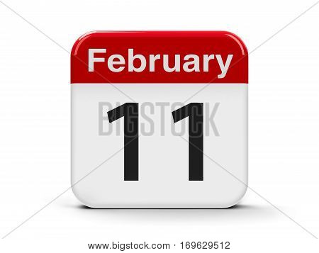 Calendar web button - The Eleventh of February - International Day of Women and Girls in Science and World Day of the Sick three-dimensional rendering 3D illustration