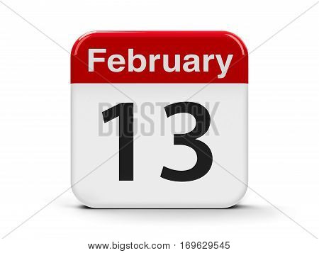Calendar web button - The Thirteenth of February - World Radio Day three-dimensional rendering 3D illustration