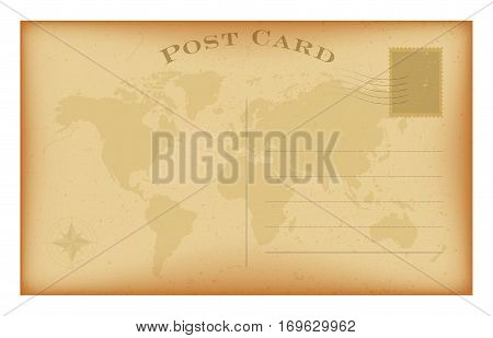 Old postcard with world map and stamp. Grunge paper vintage post card. Isolated on white. Vector illustration.