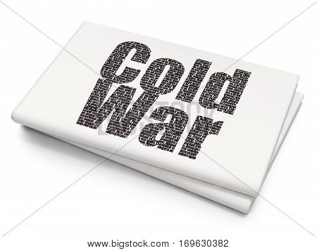 Political concept: Pixelated black text Cold War on Blank Newspaper background, 3D rendering