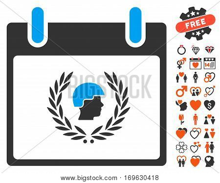 Soldier Laurel Wreath Calendar Day pictograph with bonus valentine graphic icons. Vector illustration style is flat iconic elements for web design app user interfaces.