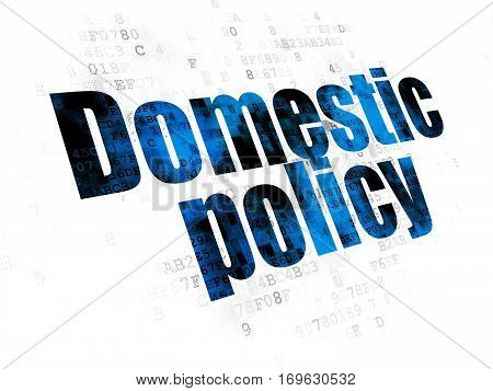 Politics concept: Pixelated blue text Domestic Policy on Digital background