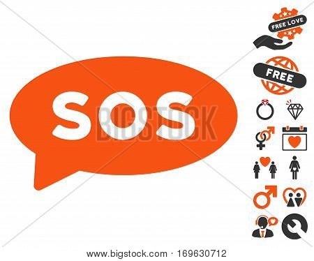Sos Message Balloon icon with bonus dating clip art. Vector illustration style is flat iconic elements for web design app user interfaces.