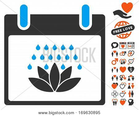 Spa Shower Calendar Day pictograph with bonus lovely design elements. Vector illustration style is flat iconic elements for web design app user interfaces.