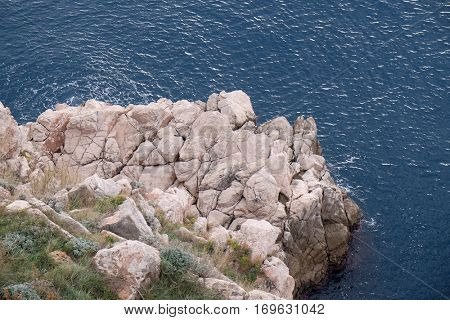DUBROVNIK, CROATIA - NOVEMBER 30: Pictorial blue Adriatic sea in Dubrovnik, Croatia on November 30, 2015.