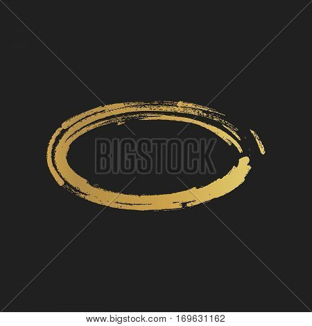 Golden Grunge Vintage Painted Ellipse Shapes. Vector Illustration
