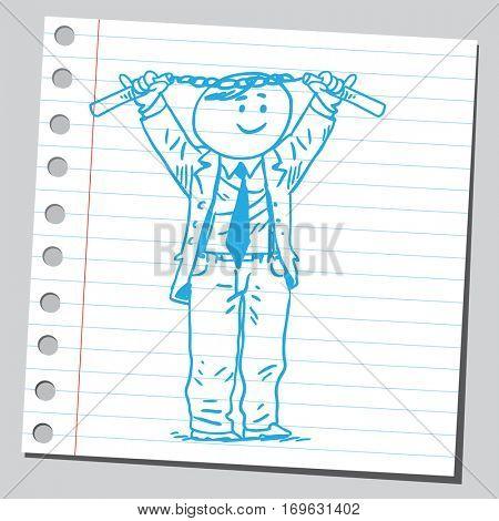Businessman holding nunchaku