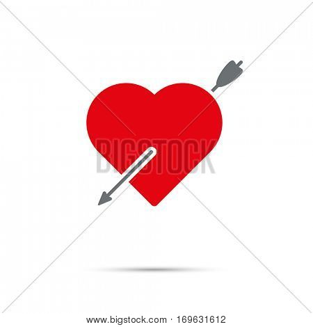 Heart pierced by arrow icon for Valentines Day. Arrow through red heart.