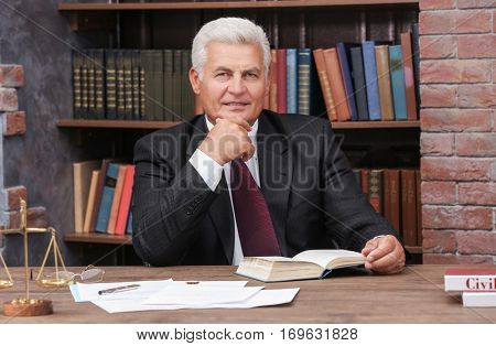 Portrait of mature lawyer working in office