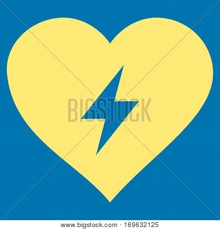 Heart Power flat icon. Vector yellow symbol. Pictogram is isolated on a blue background. Trendy flat style illustration for web site design logo ads apps user interface.