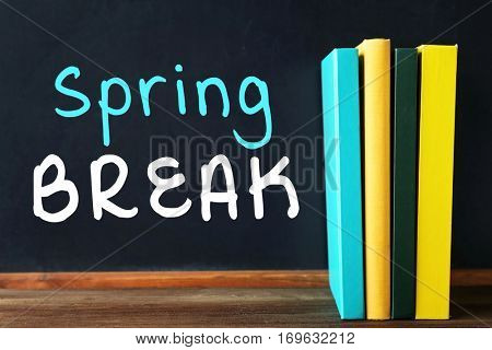 Text SPRING BREAK on blackboard. Additional education concept