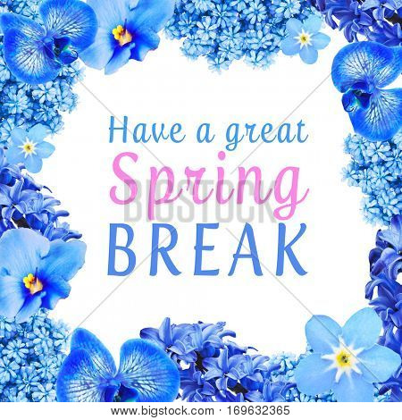 Text HAVE A GREAT SPRING BREAK with floral frame on white background. Additional education concept