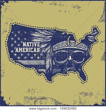 USA map grunge style vector illustration.