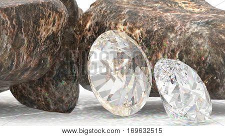 Brilliant diamonds and rocky boulders 3d illustration