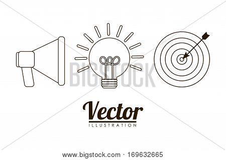 megaphone lightbulb idea target bullseye business related icons image vector illustration design