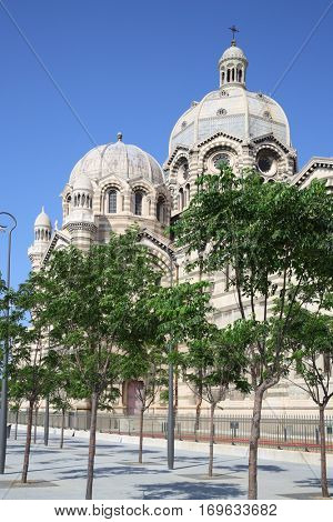 Beautiful Marseille Cathedral at summer sunny day in Marseille, France