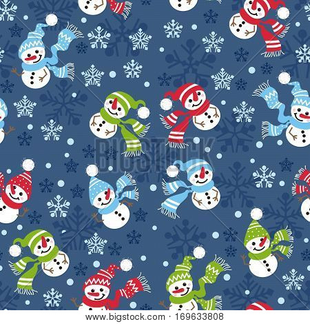 Seamless Christmas pattern with snowmen and snow-flakes. Winter background.
