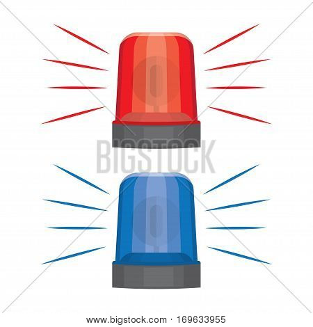 Blue and red flashing warning lights and sirens. flashing lights for alarm or emergency cases vector illustration