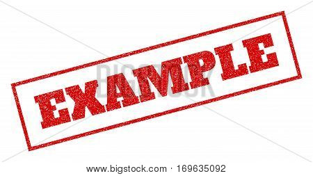 Red rubber seal stamp with Example text. Vector caption inside rectangular frame. Grunge design and dirty texture for watermark labels. Inclined emblem.