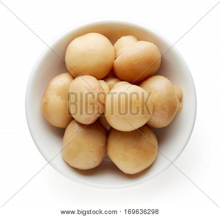 Bowl Of Pickled Mushrooms From Above