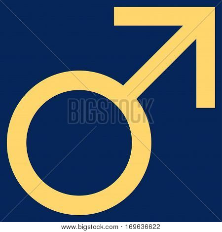 Mars Male Symbol flat icon. Vector yellow symbol. Pictogram is isolated on a blue background. Trendy flat style illustration for web site design logo ads apps user interface.