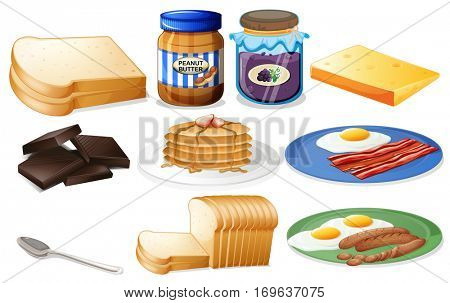 Breakfast set with bread and jam illustration