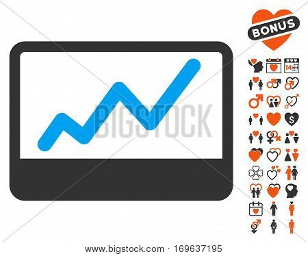 Stock Market pictograph with bonus decoration pictures. Vector illustration style is flat iconic symbols for web design app user interfaces.