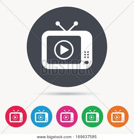 TV icon. Retro television symbol. Colored circle buttons with flat web icon. Vector