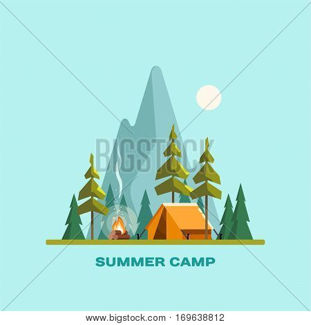 Summer camp. Landscape with yellow tent, campfire, forest and mountains on the background. Sport, camping, adventures in nature, vacation, and tourism vector illustration.