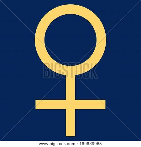 Venus Female Symbol flat icon. Vector yellow symbol. Pictograph is isolated on a blue background. Trendy flat style illustration for web site design logo ads apps user interface.