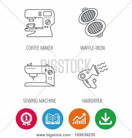Coffee maker, sewing machine and hairdryer icons. Waffle-iron linear sign. Award medal, growth chart and opened book web icons. Download arrow. Vector