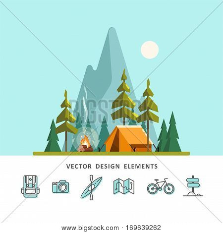 Summer camp. Landscape with yellow tent, campfire, forest and mountains in the background. Sport, camping, adventures in nature, vacation, and tourism vector illustration.