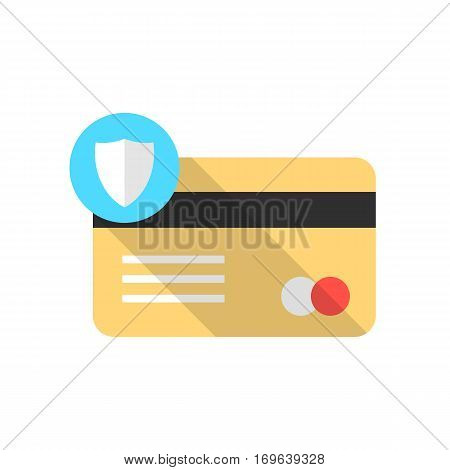 golden credit card with blue shield icon and long shadow. concept of blocked virtual money, savings, economy. isolated on white background. flat style trend modern logo design vector illustration