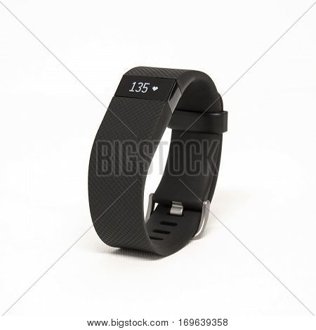 HELSINGBORG SWEDEN - MARCH 25 2016: An illustrative editorial image of the Fitbit Charge HR isolated against a white background.