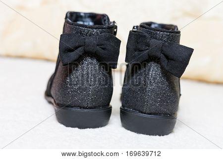 New Sparkly Velvet Black Warm Children Boots for autumn-winter