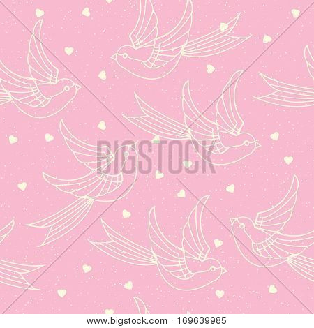 Seamless Pattern With Spring Birds, Swallows And Hearts. Romantic Or Valentines Day Print. Vector Il