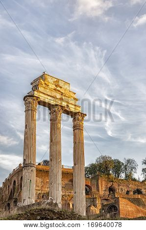 The ancient ruin of the Roman Forum Temple of Castor and Pollux situated in the Italien capital of Rome.