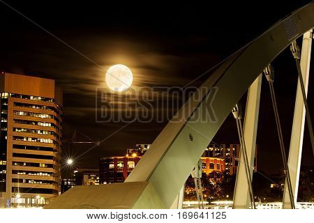 The super moon in Columbus, Ohio with the Main Street Bridge in the foreground