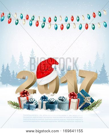 New Year Holiday background with 2017 and garland. Vector.