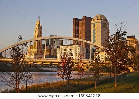 The Columbus, Ohio skyline with the Main Street Bridge in the foreground