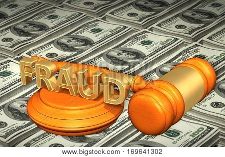 Fraud Law Legal Gavel Concept 3D Illustration