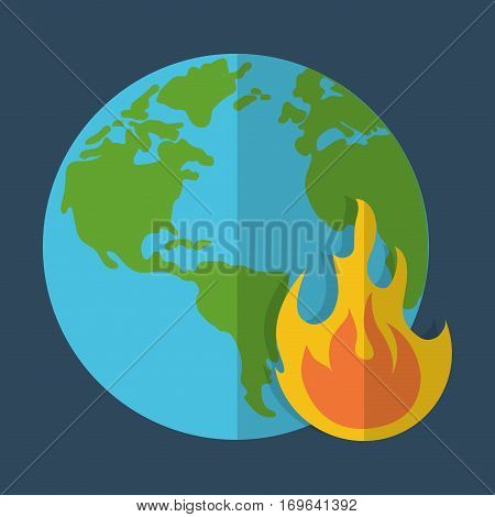 planet and flame global warming icon image vector illustration design