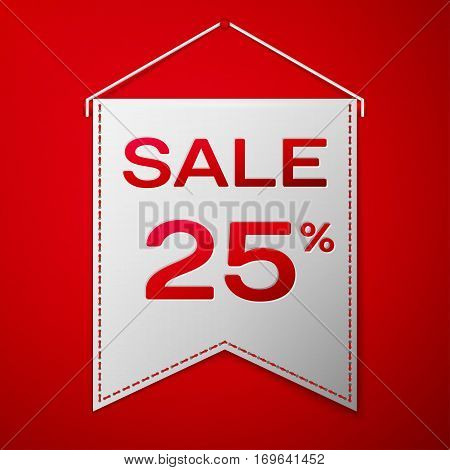 Grey pennant with inscription sale twenty five percent Discounts over a red background. Sale concept for shops store market, web and other commerce. Vector illustration.