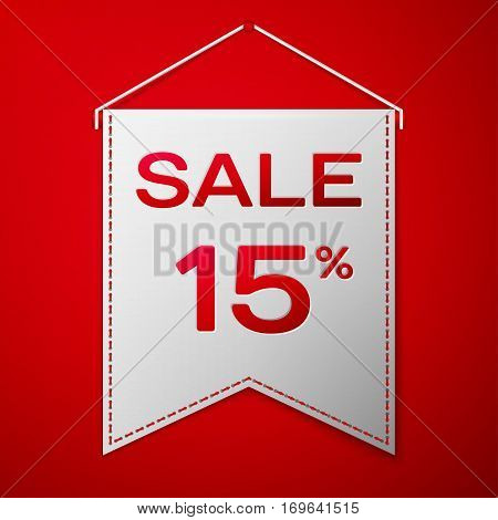 Grey pennant with inscription sale fifteen percent Discounts over a red background. Sale concept for shops store market, web and other commerce. Vector illustration.
