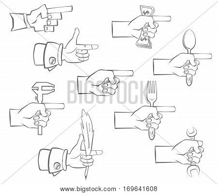 hand holding dollars , wrench, a spoon, a fork, a quill pen and the tool. It shows a finger forward. Silhouette